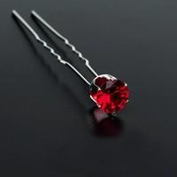 thumb-Zilverkleurige Hairpins met Rode Kristal - 4 Stuks-1