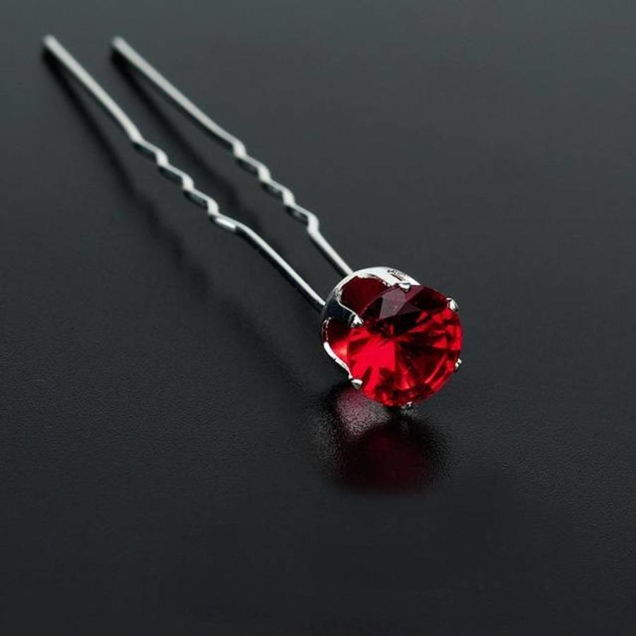 PaCaZa - Zilverkleurige Hairpins met Rode Kristal - 4 Stuks-1