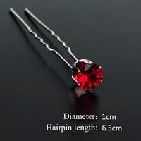 thumb-Zilverkleurige Hairpins met Rode Kristal - 4 Stuks-4