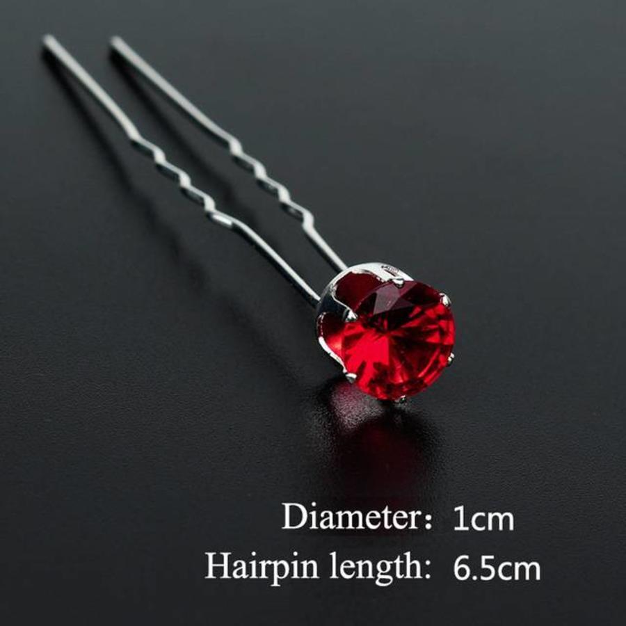 Zilverkleurige Hairpins met Rode Kristal - 4 Stuks-4