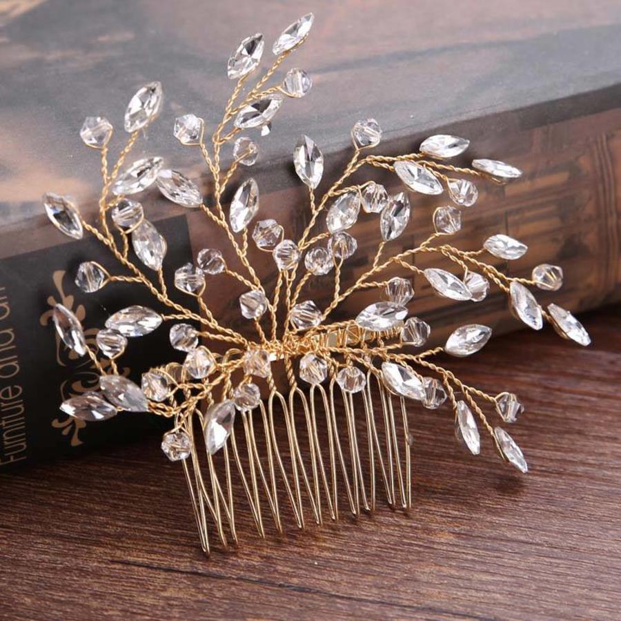 Stijlvolle Goudkleurige Haarkam met Kristallen-1