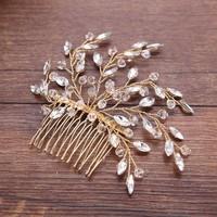 thumb-Stijlvolle Goudkleurige Haarkam met Kristallen-2