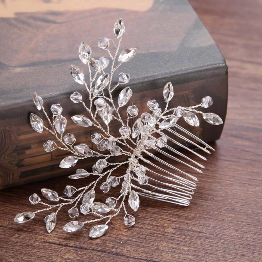 Stijlvolle Zilverkleurige Haarkam met Kristallen-3