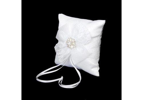 Ringkussen Wit met Ivoorkleurige Parels en Fonkelende Diamantjes