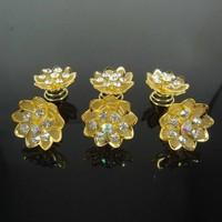 thumb-Fonkelende Goudkleurige Curlies met Kristallen - 6 stuks-2