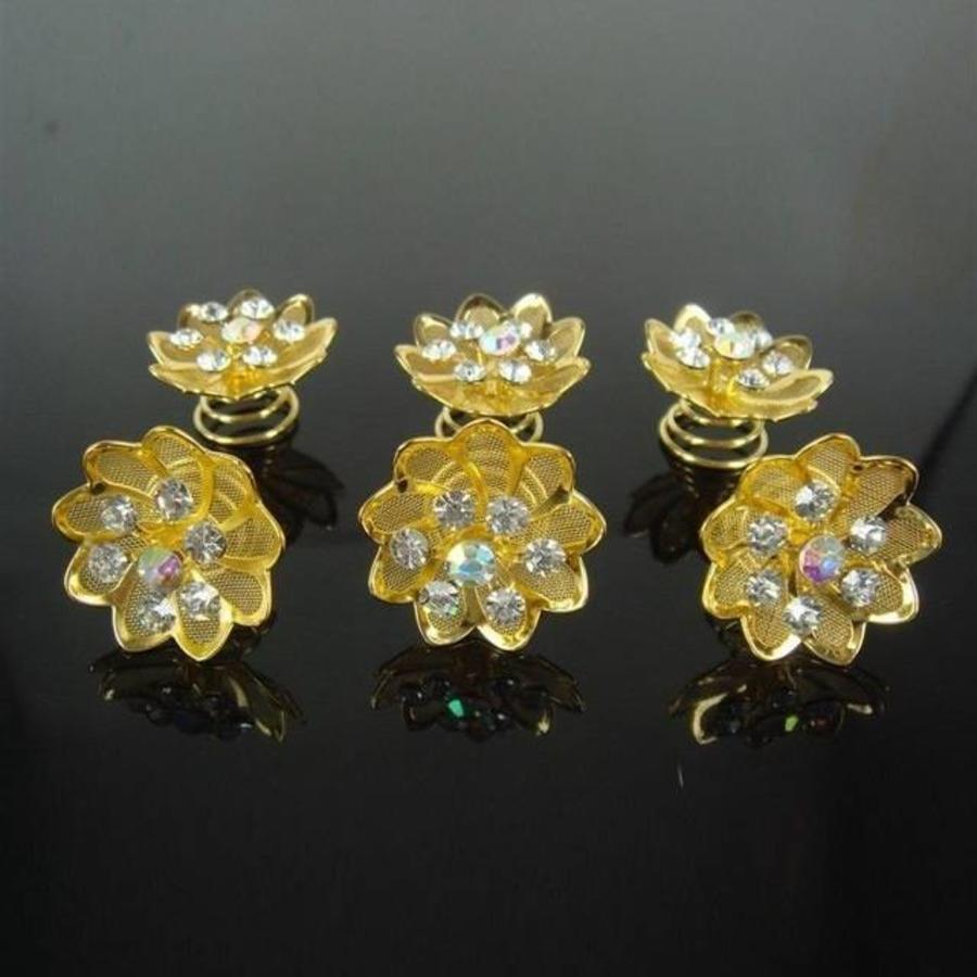 Fonkelende Goudkleurige Curlies met Kristallen - 6 stuks-2
