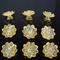 thumb-Fonkelende Goudkleurige Curlies met Kristallen - 6 stuks-1