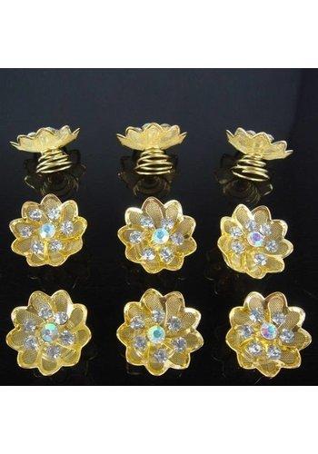 Fonkelende Goudkleurige Curlies met Kristallen - 6 stuks