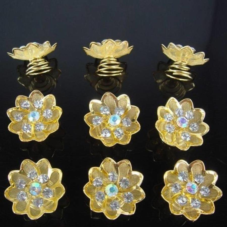 Fonkelende Goudkleurige Curlies met Kristallen - 6 stuks-1