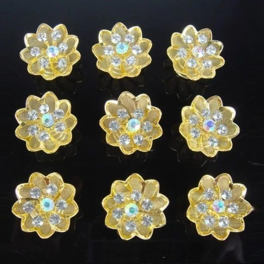 Fonkelende Goudkleurige Curlies met Kristallen - 6 stuks-3