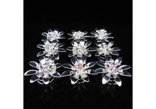 Fonkelende Zilverkleurige Curlies met Kristallen - 6 stuks