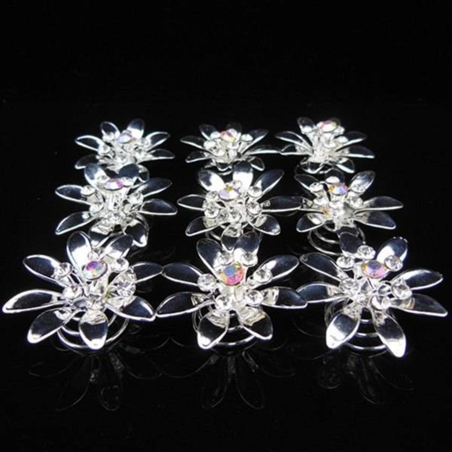 Fonkelende Zilverkleurige Curlies met Kristallen - 6 stuks-1