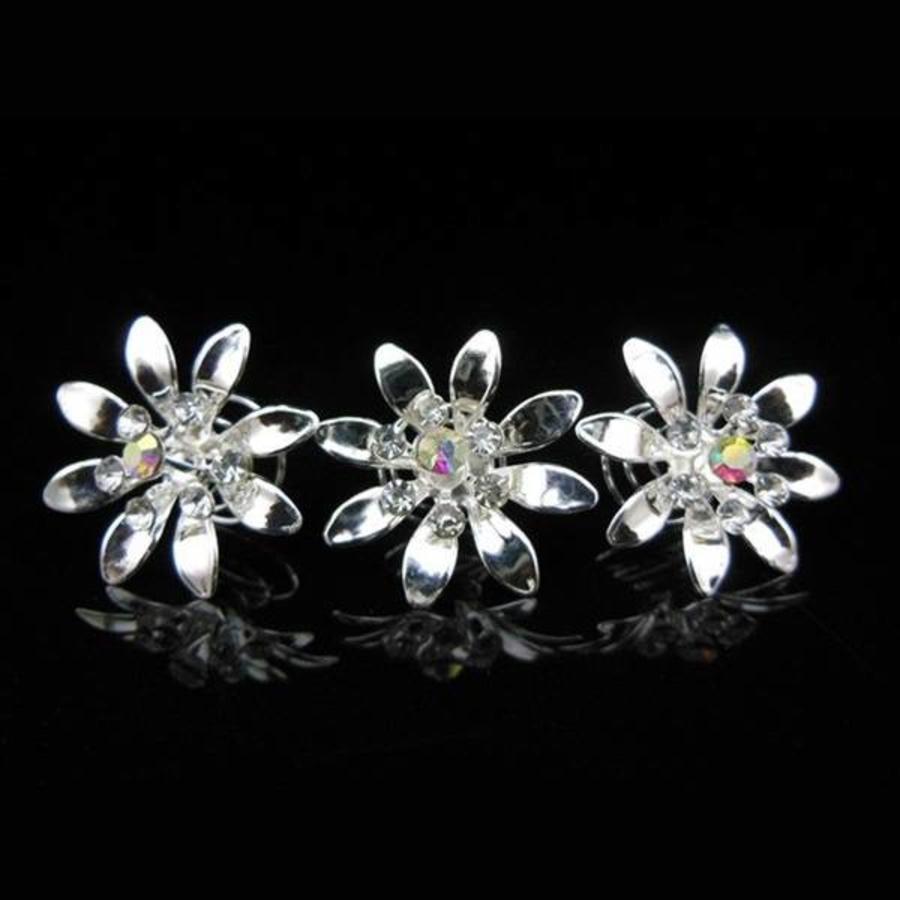 Fonkelende Zilverkleurige Curlies met Kristallen - 6 stuks-4