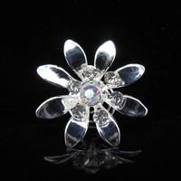 thumb-Fonkelende Zilverkleurige Curlies met Kristallen - 6 stuks-2