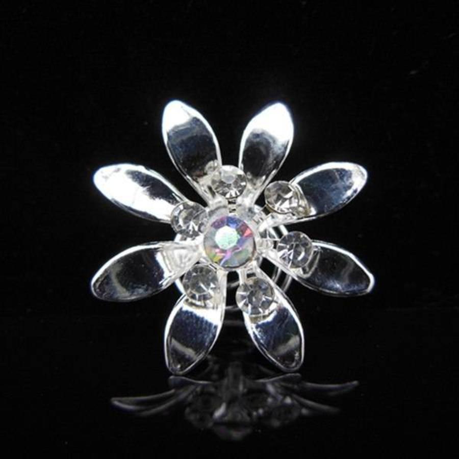 Fonkelende Zilverkleurige Curlies met Kristallen - 6 stuks-2