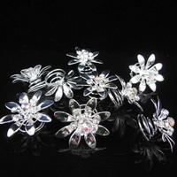 thumb-Fonkelende Zilverkleurige Curlies met Kristallen - 6 stuks-5