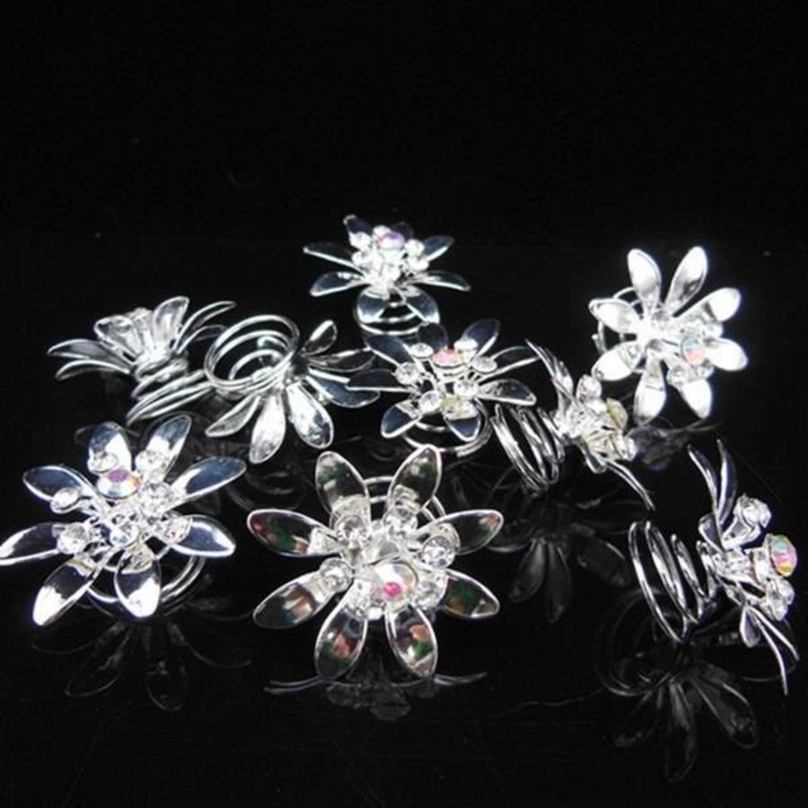 Fonkelende Zilverkleurige Curlies met Kristallen - 6 stuks-5