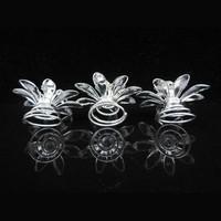 thumb-Fonkelende Zilverkleurige Curlies met Kristallen - 6 stuks-3
