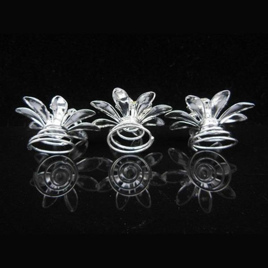 Fonkelende Zilverkleurige Curlies met Kristallen - 6 stuks-3