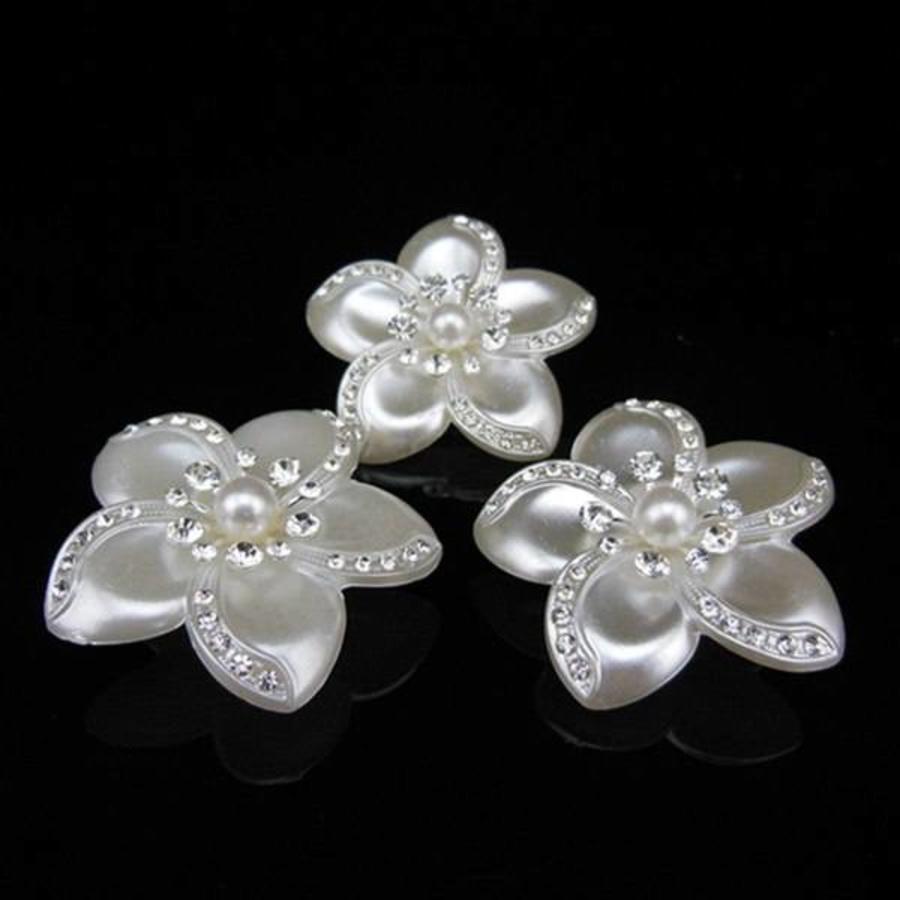 PaCaZa - Grote Ivoorkleurige Curlies met Fonkelende Kristallen - 4 stuks-3