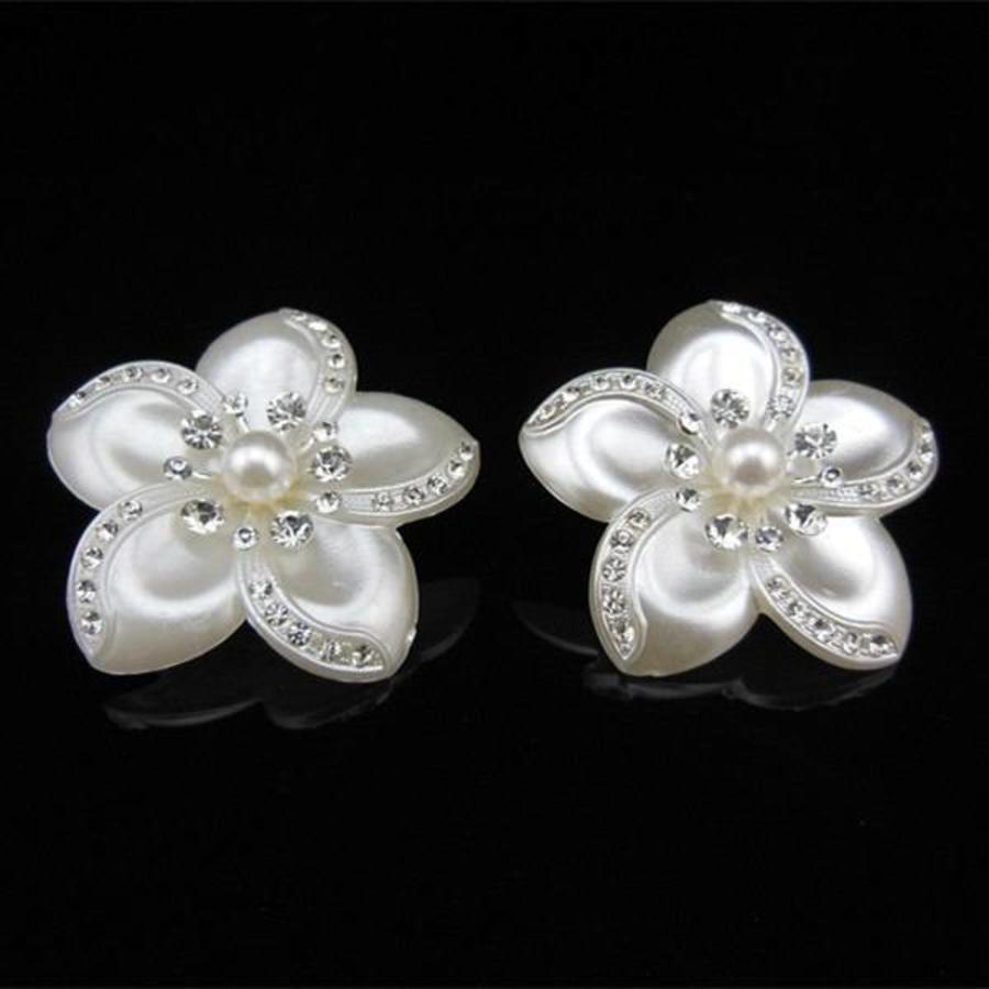 Grote Ivoorkleurige Curlies met Fonkelende Kristallen - 4 stuks-5