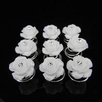 thumb-Prachtige Witte Roosjes met Diamantje Curlies - 5 stuks-2