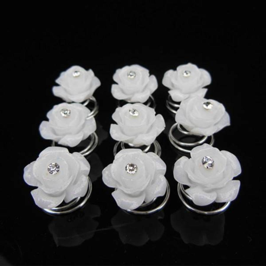 Prachtige Witte Roosjes met Diamantje Curlies - 5 stuks-2