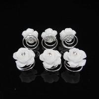 thumb-Prachtige Witte Roosjes met Diamantje Curlies - 5 stuks-4