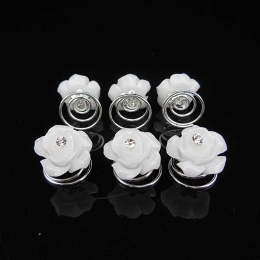 Prachtige Witte Roosjes met Diamantje Curlies - 5 stuks-4