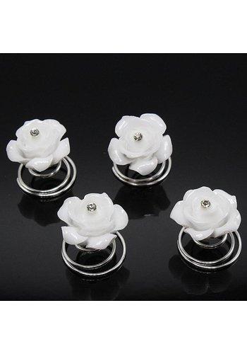 Prachtige Roosjes met Diamantje Curlies - 6 stuks - Off White