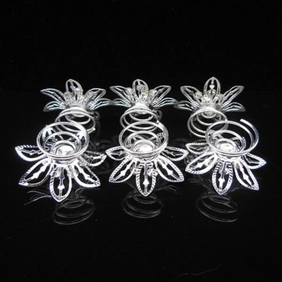 Big Flower Curlies met Kristallen - 6 stuks-4