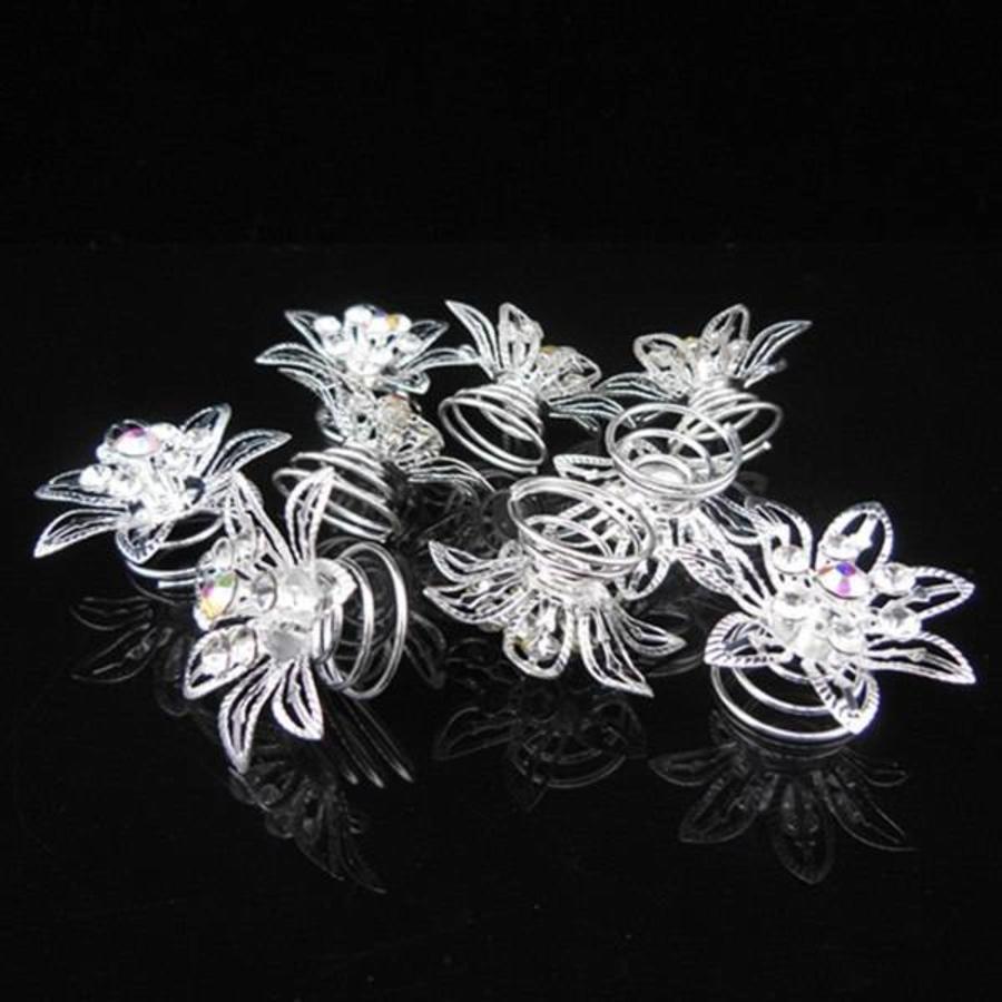 Big Flower Curlies met Kristallen - 6 stuks-6