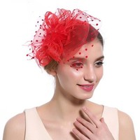 thumb-Chique  Fascinator / Birdcage Veil  - Rood-1