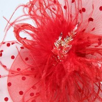 thumb-Chique  Fascinator / Birdcage Veil  - Rood-2