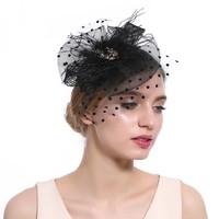 thumb-Chique  Fascinator / Birdcage Veil  - Zwart-1