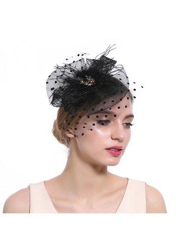Chique  Fascinator / Birdcage Veil  - Zwart