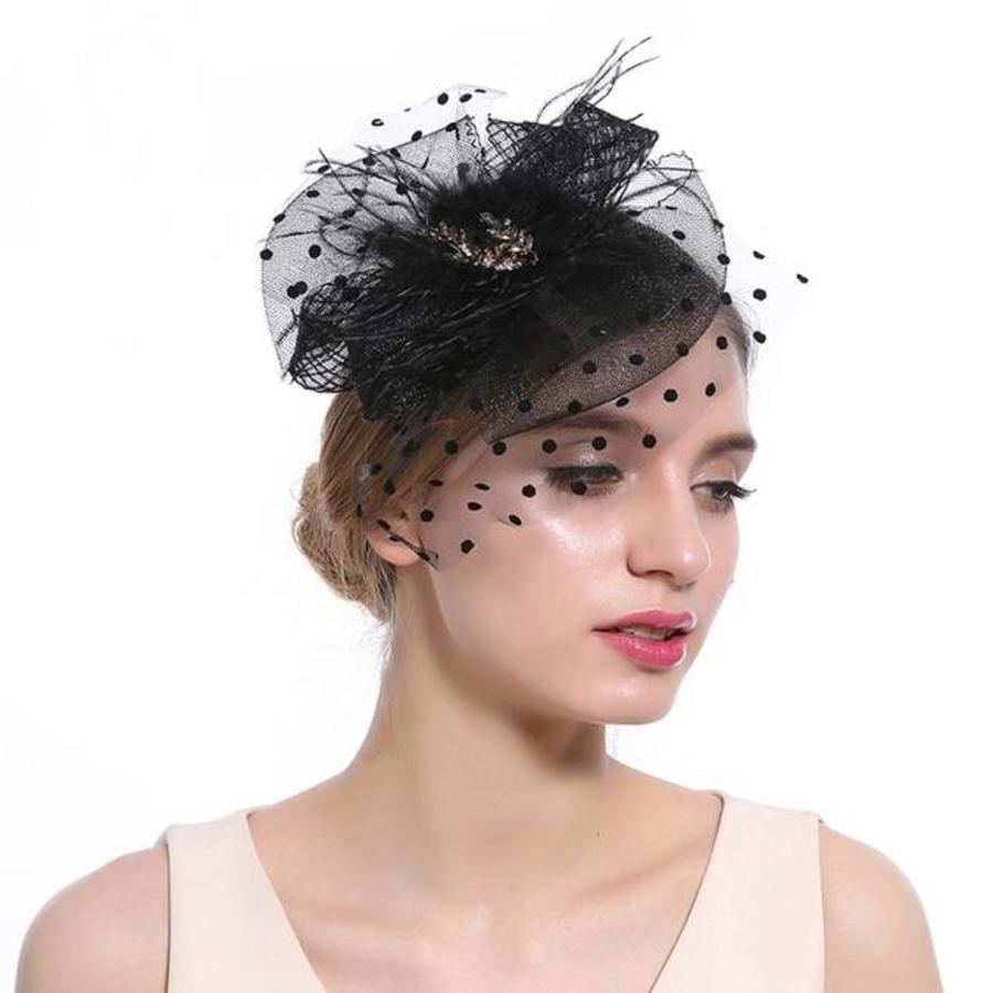 Chique  Fascinator / Birdcage Veil  - Zwart-1