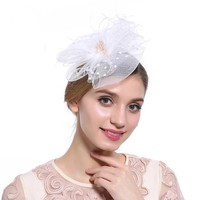 thumb-Chique  Fascinator / Birdcage Veil  - Wit-1