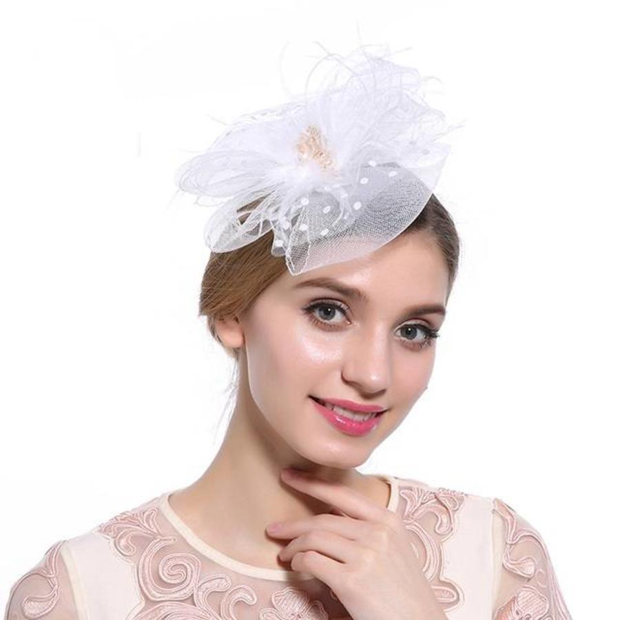 Chique  Fascinator / Birdcage Veil  - Wit-1
