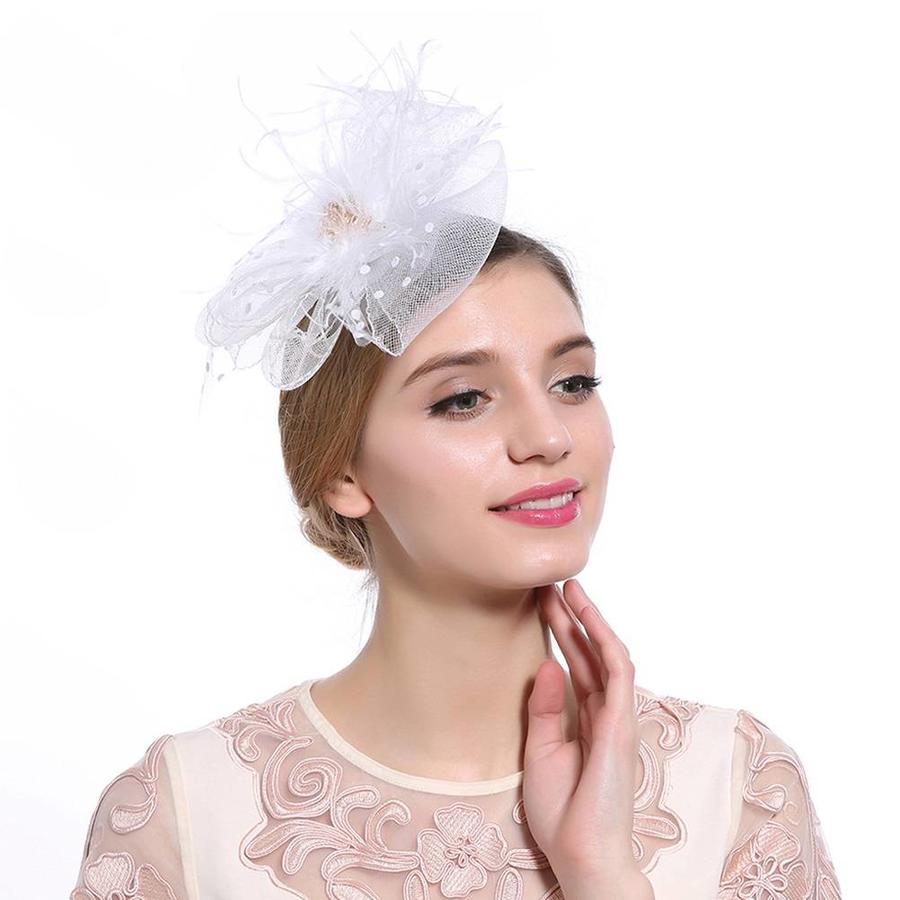 Chique  Fascinator / Birdcage Veil  - Wit-2