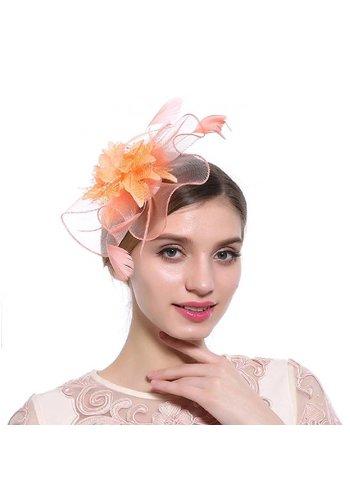 Elegante  Fascinator / Birdcage Veil  - Oranje