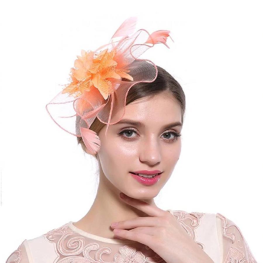 Elegante  Fascinator / Birdcage Veil  - Oranje-1