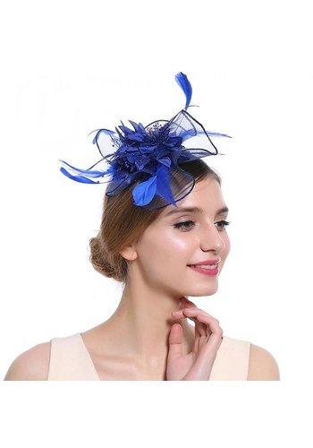Elegante  Fascinator / Birdcage Veil  - Blauw