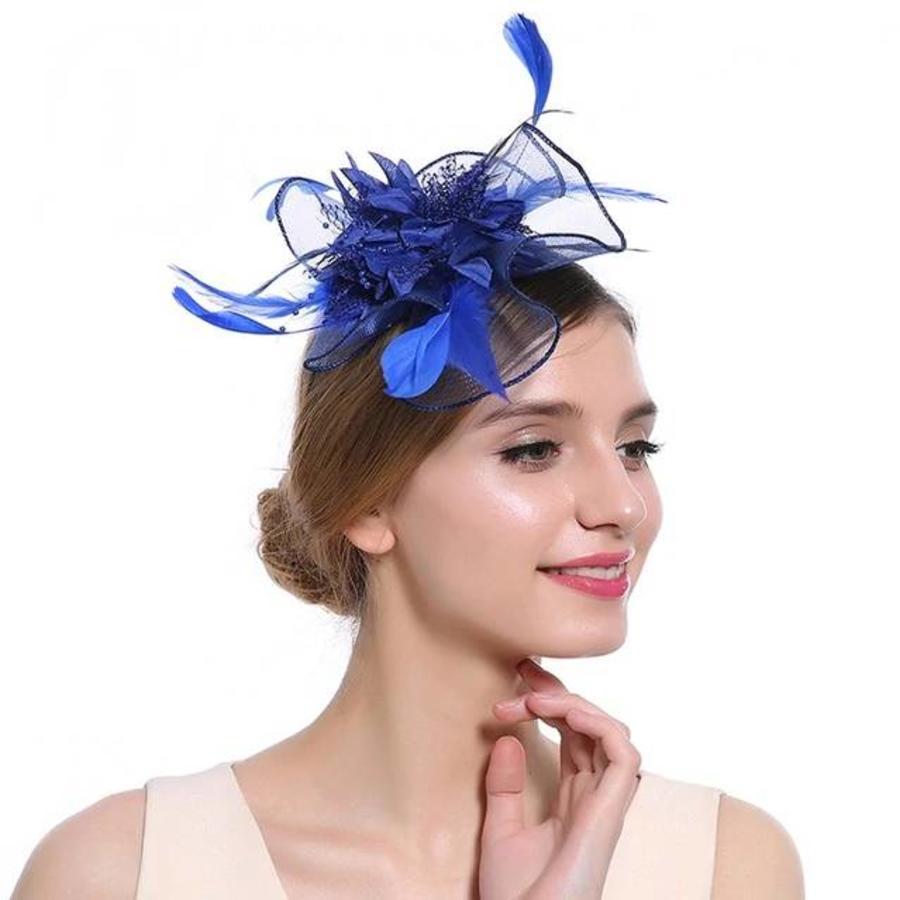 Elegante  Fascinator / Birdcage Veil  - Blauw-1
