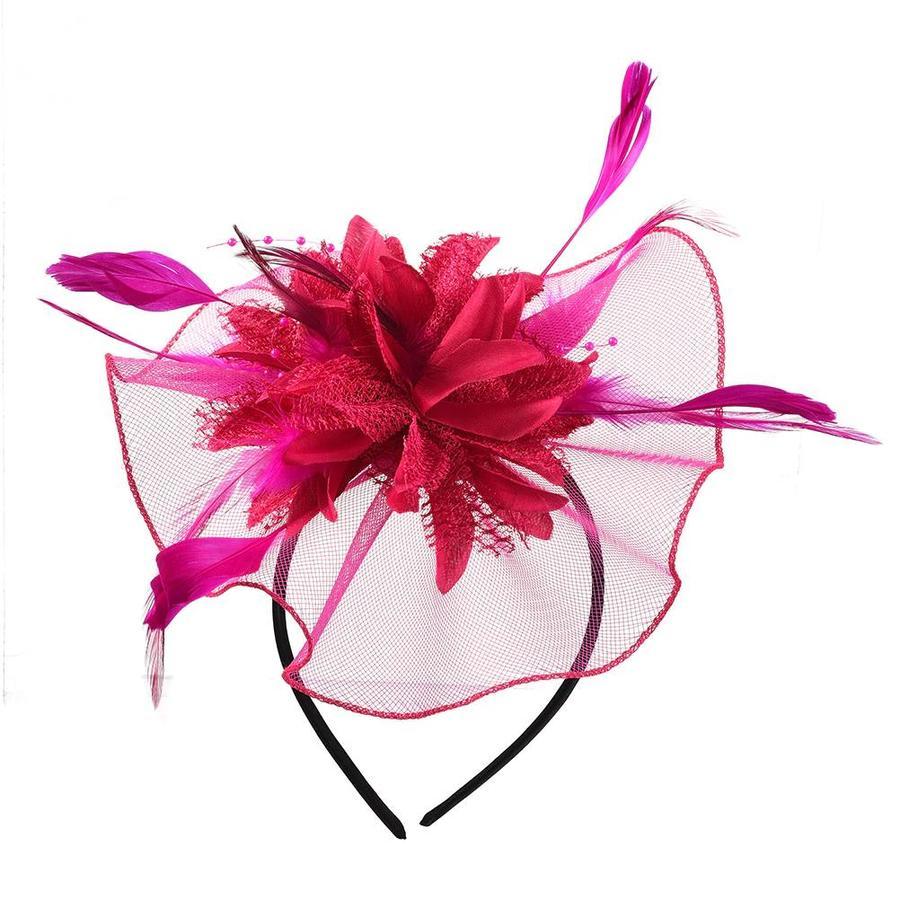 Elegante  Fascinator / Birdcage Veil  - Wit-4