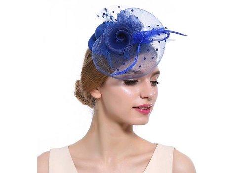 Prachtige Fascinator / Birdcage Veil  - Blauw