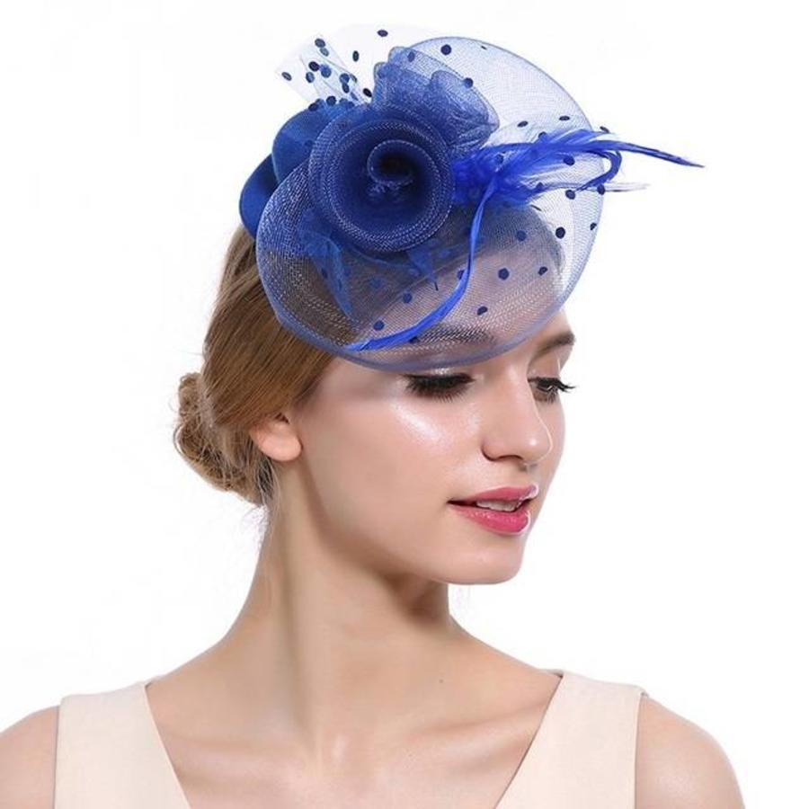 Prachtige Fascinator / Birdcage Veil  - Blauw-1