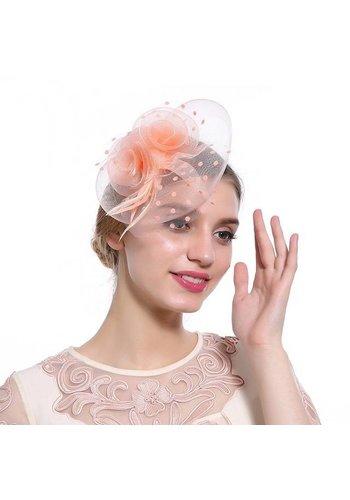 Prachtige Fascinator / Birdcage Veil  - Zacht Roze / Oranje