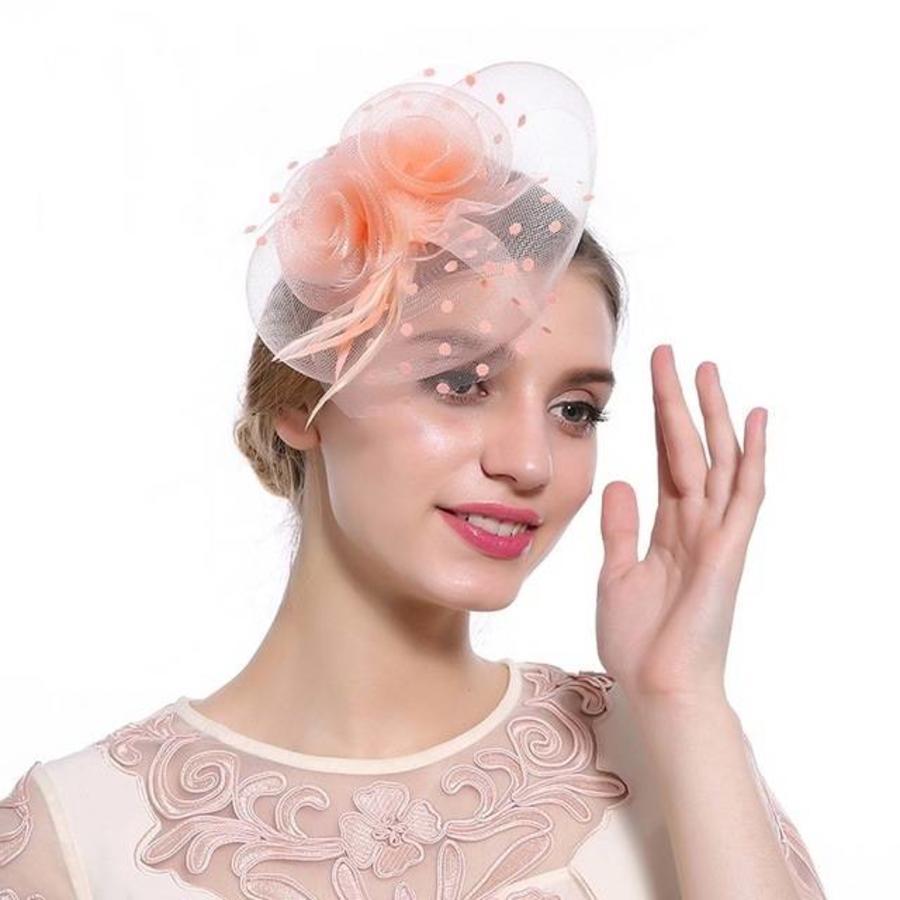 Prachtige Fascinator / Birdcage Veil  - Zacht Roze / Oranje-1