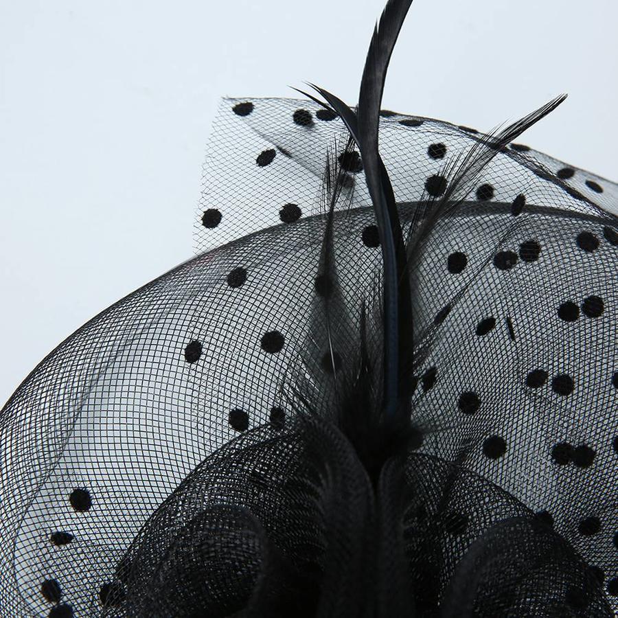 Prachtige Fascinator / Birdcage Veil  - Wit-4